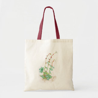 Nodding saxifrage plant watercolor budget tote bag