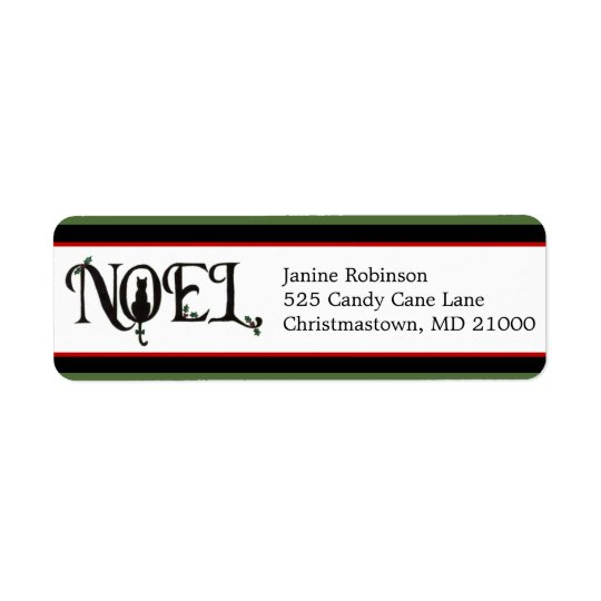 Noel Cat Holiday Return Address Labels