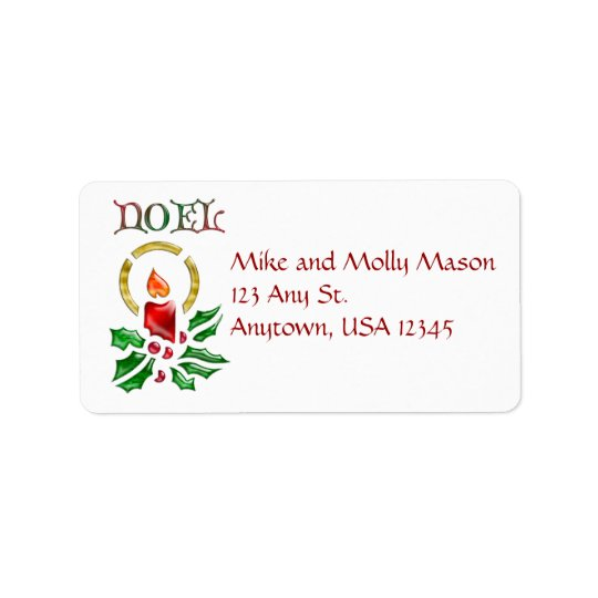 Noel Christmas Candle Address Labels