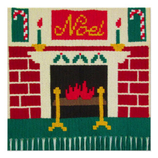 Noel Christmas Fireplace Red Green Gold Crochet