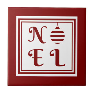 NOEL Christmas Holiday Red And White Bauble Tile