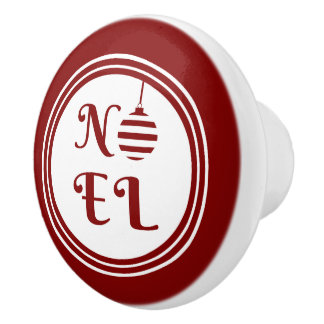 NOEL Christmas Holiday Red And White Ceramic Knob