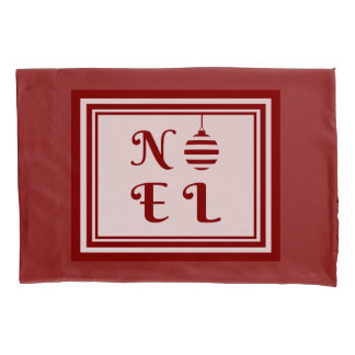 NOEL Christmas Holiday Red And White Pillowcase