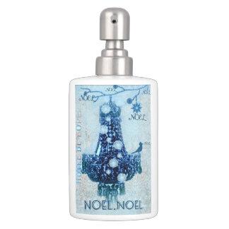 Noel,Christmas,Snow,Bird,Chandelier,blue. Soap Dispenser And Toothbrush Holder
