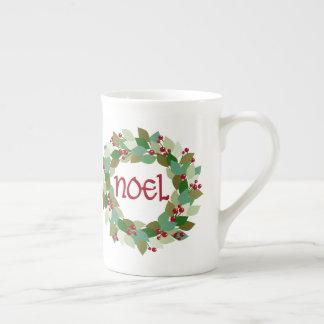 Noel Christmas Wreath | Festive Tea Cup