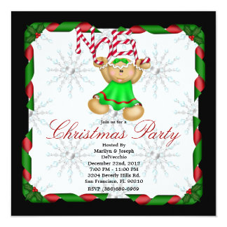 Noel Gingerbread Man CUTE Christmas Party Holiday 13 Cm X 13 Cm Square Invitation Card
