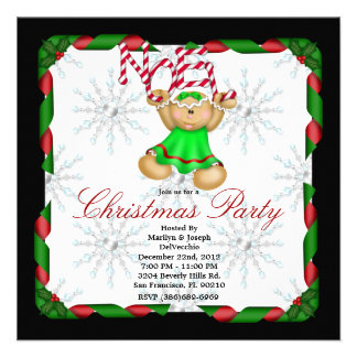 Noel Gingerbread Man CUTE Christmas Party Holiday Announcements