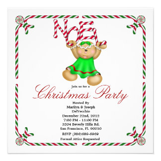 Noel Gingerbread Man CUTE Christmas Party Holiday Personalized Invites