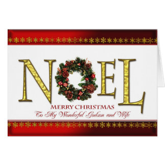 Noel greetings for godson and wife card