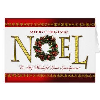 Noel greetings for Great Grandparents Greeting Card