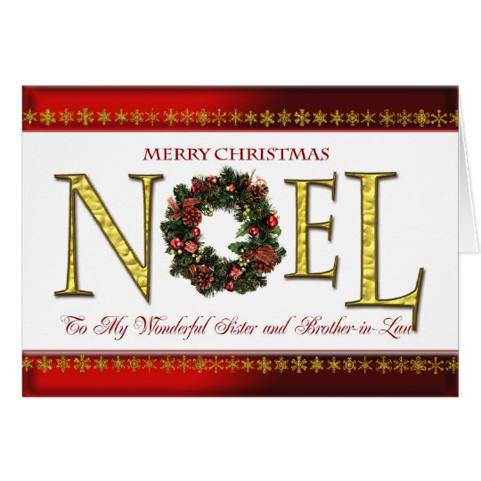 Noel greetings for sister and brother-in-law card