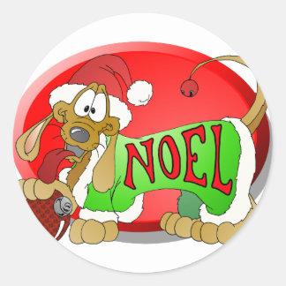 NOEL Hotdog Classic Round Sticker
