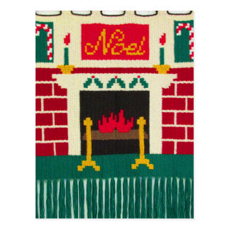 Noel Mantle Holiday Brick Fireplace Crochet Print Postcard
