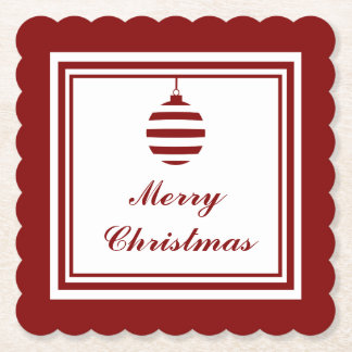 NOEL Merry Christmas Holiday Red And White Bauble Paper Coaster