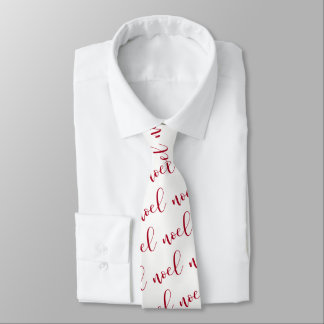 Noel | Red and White Christmas Script Tie