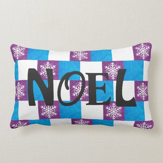 NOEL Snowflakes purple and blue Christmas Pillow