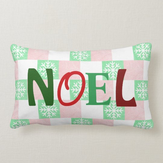 NOEL Snowflakes red and green Christmas Pillow
