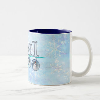 NOEL SNOWMAN GLOBES by SHARON SHARPE Two-Tone Mug