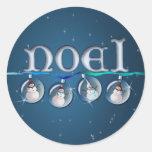 NOEL SNOWMAN GLOBES by SHARON SHARPE Round Sticker
