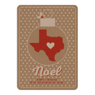 Noel Texas Christmas Bauble Holiday Photo Card