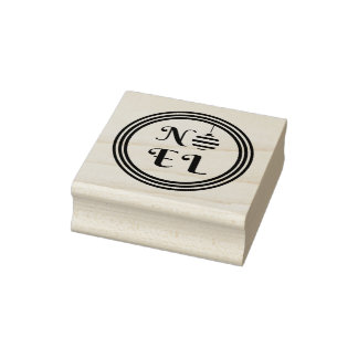 NOEL Text Christmas Holiday Bauble Circle Rubber Stamp