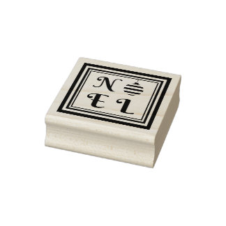 NOEL Text Christmas Holiday Bauble Square Frame Rubber Stamp