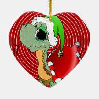 Noel Turtle Double-Sided Heart Ceramic Christmas Ornament