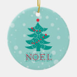 Noel with christmas tree round ceramic ornament