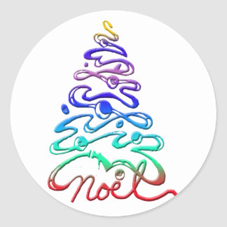 Noel Xmas Tree Round Sticker