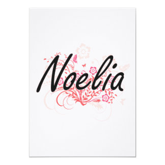 Noelia Artistic Name Design with Flowers 13 Cm X 18 Cm Invitation Card