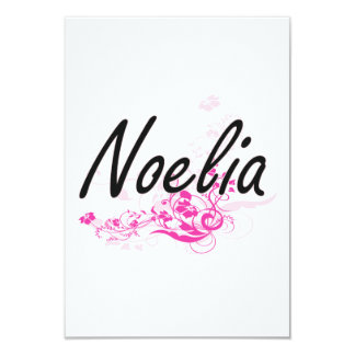 Noelia Artistic Name Design with Flowers 9 Cm X 13 Cm Invitation Card