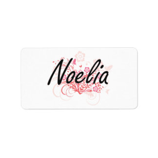 Noelia Artistic Name Design with Flowers Address Label