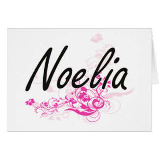 Noelia Artistic Name Design with Flowers Greeting Card