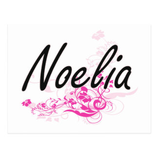 Noelia Artistic Name Design with Flowers Postcard