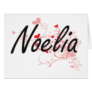 Noelia Artistic Name Design with Hearts Big Greeting Card