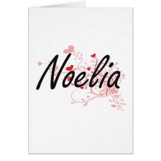 Noelia Artistic Name Design with Hearts Greeting Card