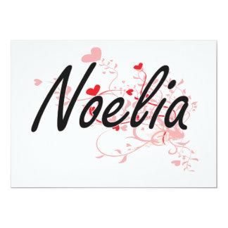 Noelia Artistic Name Design with Hearts 5x7 Paper Invitation Card