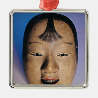 Noh theatre mask of a young boy called Silver-Colored square decoration
