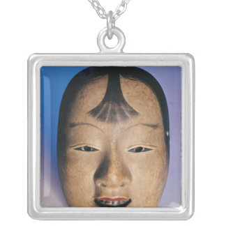 Noh theatre mask of a young boy called silver plated necklace