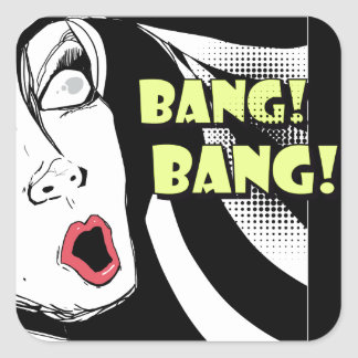 Noir comics style scared woman - bang bang square sticker