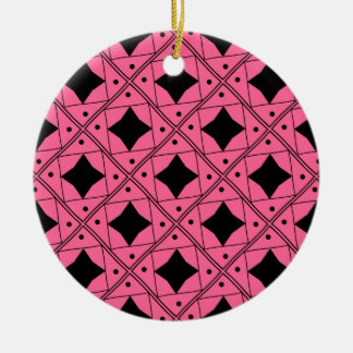 noir et rose patterns Double-Sided ceramic round christmas ornament