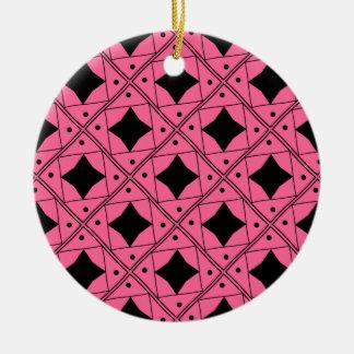 noir et rose patterns round ceramic decoration