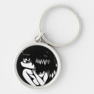noir Silver-Colored round key ring
