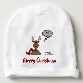 Noisey Rudolph -Merry Christmas Design Baby Beanie