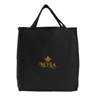 NOLA Fleur De Lis Emblem Embroidered Tote Bag
