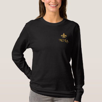 NOLA  Fleur De Lis Embroidered Long Sleeve T-Shirt