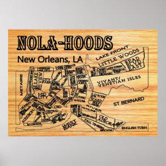 Nola-Hood New Orleans Neighborhoods Map Poster