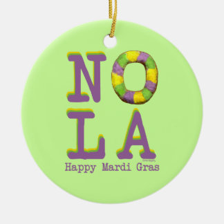 NOLA King Cake gifts Double-Sided Ceramic Round Christmas Ornament