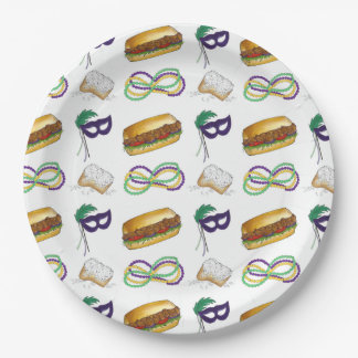 NOLA New Orleans Louisiana Mardi Gras Party Plates 9 Inch Paper Plate
