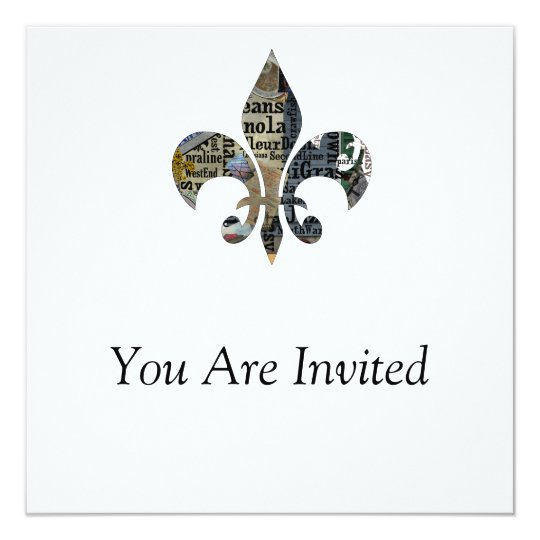 "Nola Original ""Fleur de Lis"" Square Invitation"